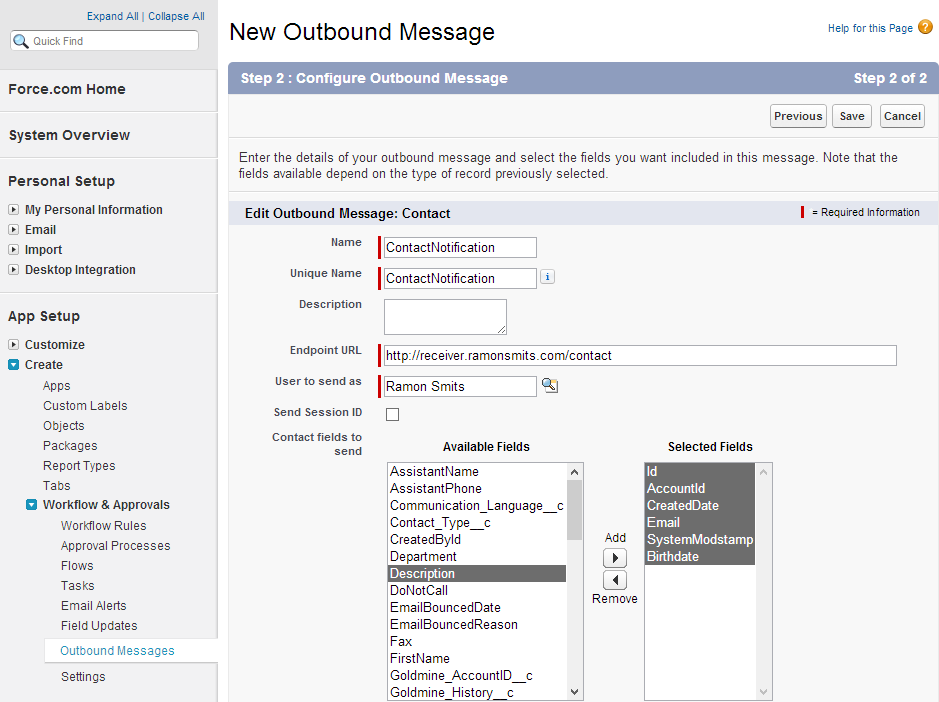 Building an outbound message